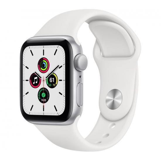 Apple Watch SE (GPS, 40mm) - Silver Aluminium with White Sports Band