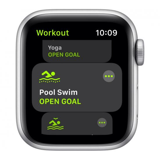 Apple Watch SE (GPS, 44mm) - Silver Aluminium with White Sports Band
