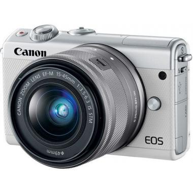 CANON EOS M100 Mirrorless Camera with EF-M 15-45 mm f/3.5-6.3 IS STM Lens - White