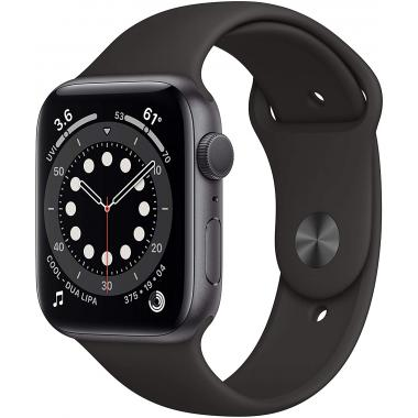 Apple Watch Series 6 (GPS, 44mm) - Space Grey Aluminium with Black Sports Band (Latest Version)