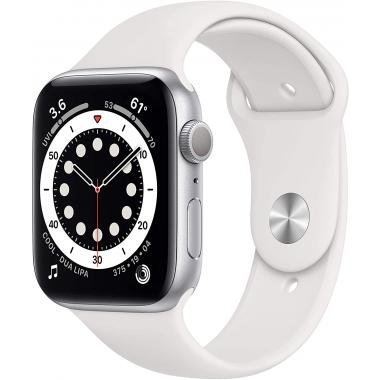 Apple Watch Series 6 (GPS, 44mm) - Silver Aluminium with White Sports Band (Latest Version)