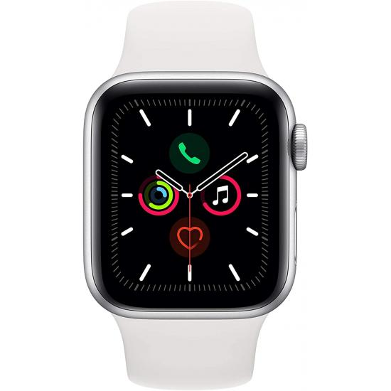 Apple Watch Series 5 (GPS, 40mm) - Silver Aluminum Case with White Sport Band