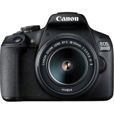 Canon EOS 2000D DSLR Camera with EF-S 18-55 mm f/3.5-5.6 IS II Lens Black